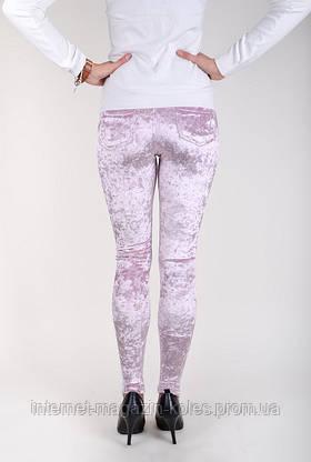 Розовые женские велюровые лосины, фото 3