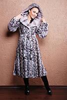 """Длинная женская шуба из эко-меха под натуральную норку """"Голубой леопард"""", фото 1"""