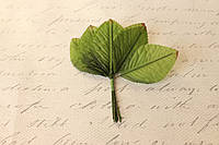 Декоративные листики из ткани 12 шт. зеленого цвета 4 х 6 см, фото 1