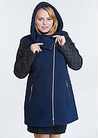 Пальто больших размеров (батал) кашемировое демисезонное стеганое женское из кашемира со стежкой
