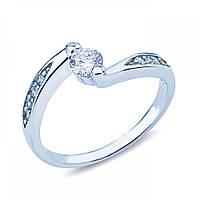 Кольцо серебряное с белым цирконом JR-2582