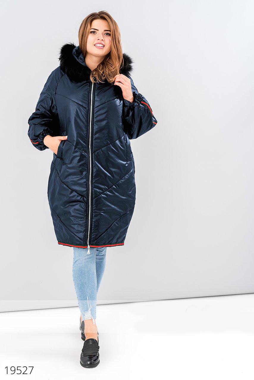 Модное стеганое женское пальто Большой размер