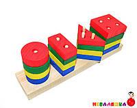 Деревянная игрушка Пирамидка Геометрика Цвета Фигуры Геометрические Пирамида GM 001 md 0715, 009335, фото 1