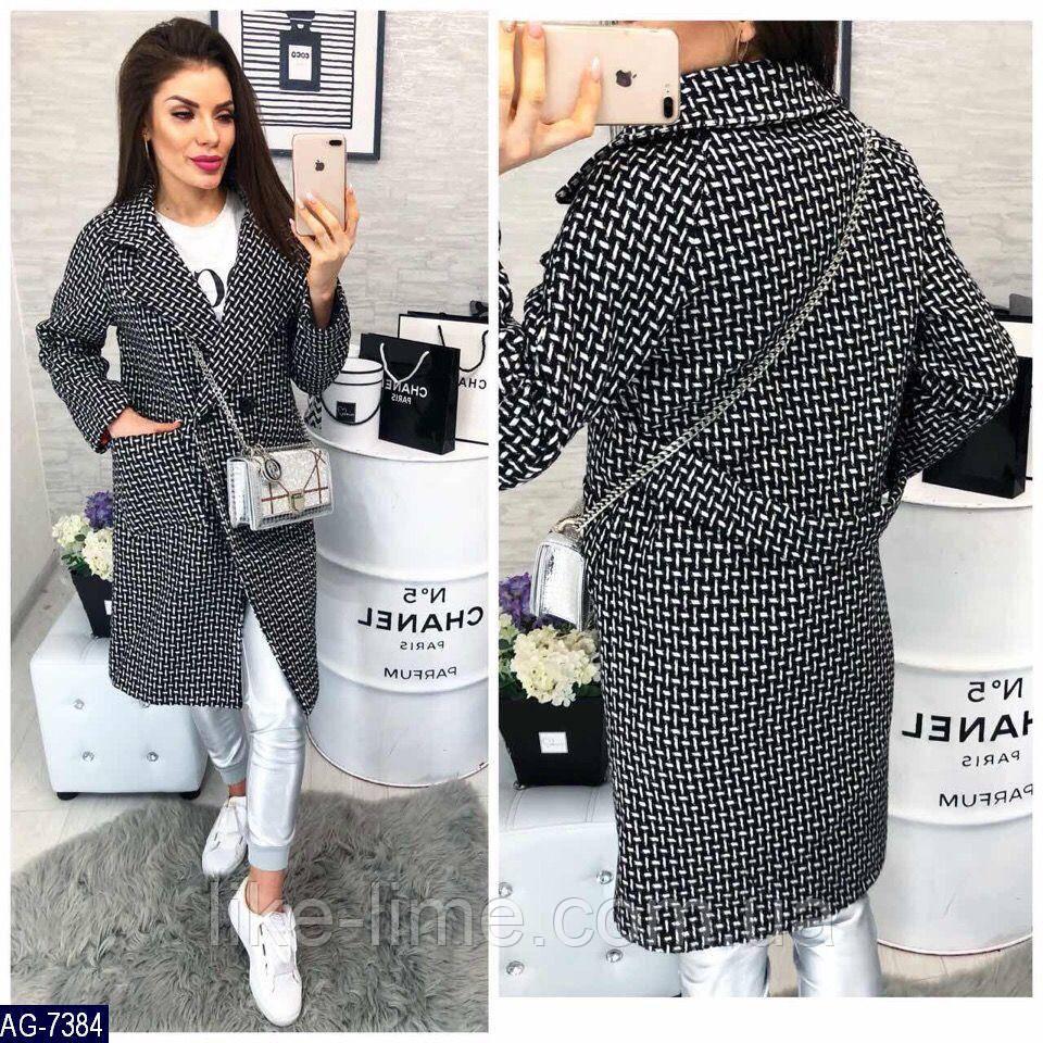Женское стильное пальто гусиная лапка