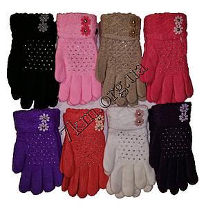 Перчатки детские одинарные +начес для девочек 5-7 лет Оптом 5631 S