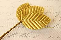 Декоративные листики из ткани 10 шт. золотого цвета 3 х 5 см, фото 1