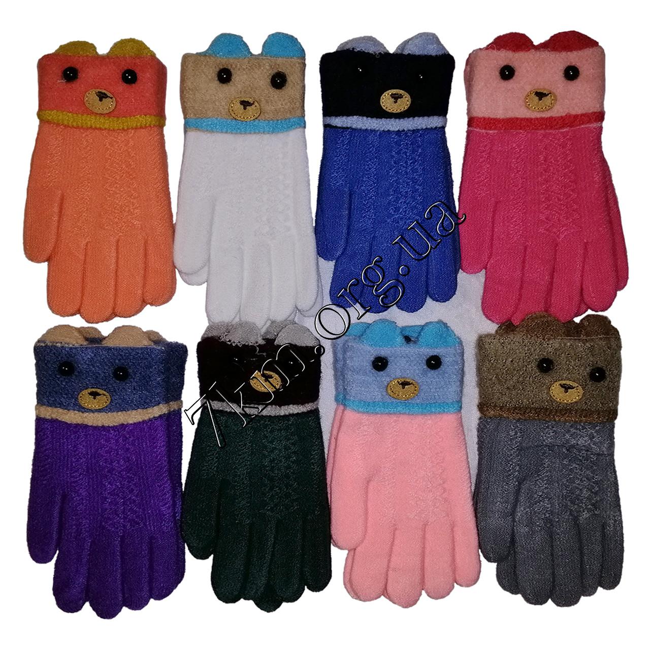 Перчатки детские одинарные +начес для девочек 4-6 лет Оптом 5629 S