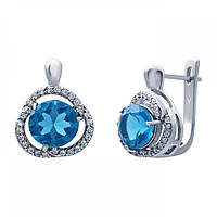 Серьги серебряные с голубым кварцом E01082Qlb