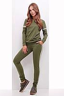 Стильний спортивний костюм для прогулянок світшот та штани оливковий розмір 42 44 46 48 50