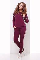 Стильний спортивний костюм для прогулянок світшот та штани баклажановий розмір 42 44 46 48 50