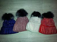 Зимние женские шапки на флисе -стразы, фото 1
