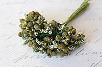 Декоративные веточки облепихи 10-12 шт/уп. оливкового цвета, фото 1