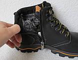 Детские зимние  в стиле Caterpillar сапоги кожа ботинки САТ мех теплые качественные черные, фото 3