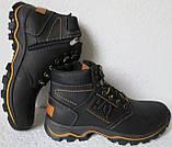 Детские зимние  в стиле Caterpillar сапоги кожа ботинки САТ мех теплые качественные черные, фото 5