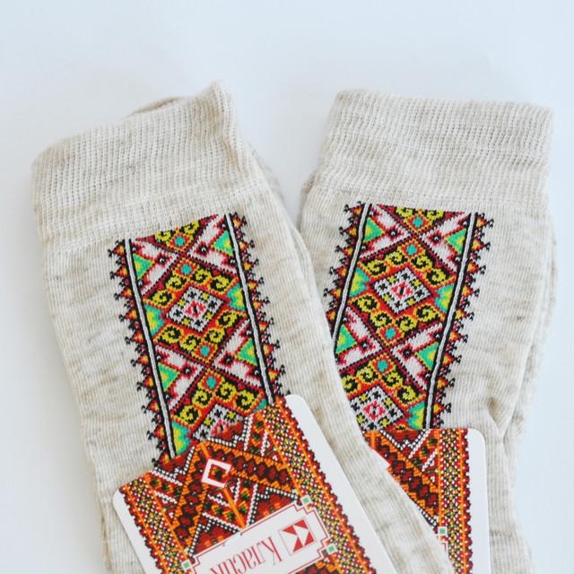 мужские льняные носки с украинским орнаментом