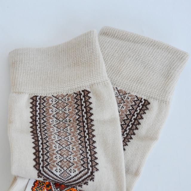 мужские вязаные носки с украинским орнаментом кофейного цвета
