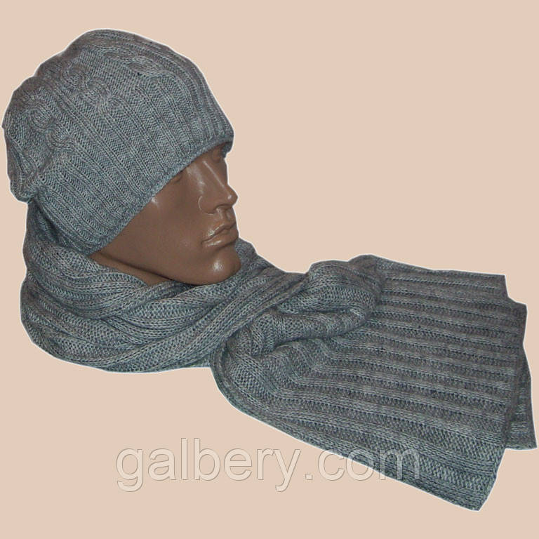 """Чоловіча в'язана шапка-носок """"косичка"""" (утеплений варіант) і шарф-петля"""