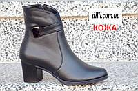 Ботинки ботильоны женские зимние кожаные черные (код 344) - жіночі черевики ботінки зимові шкіряні чорні, фото 1