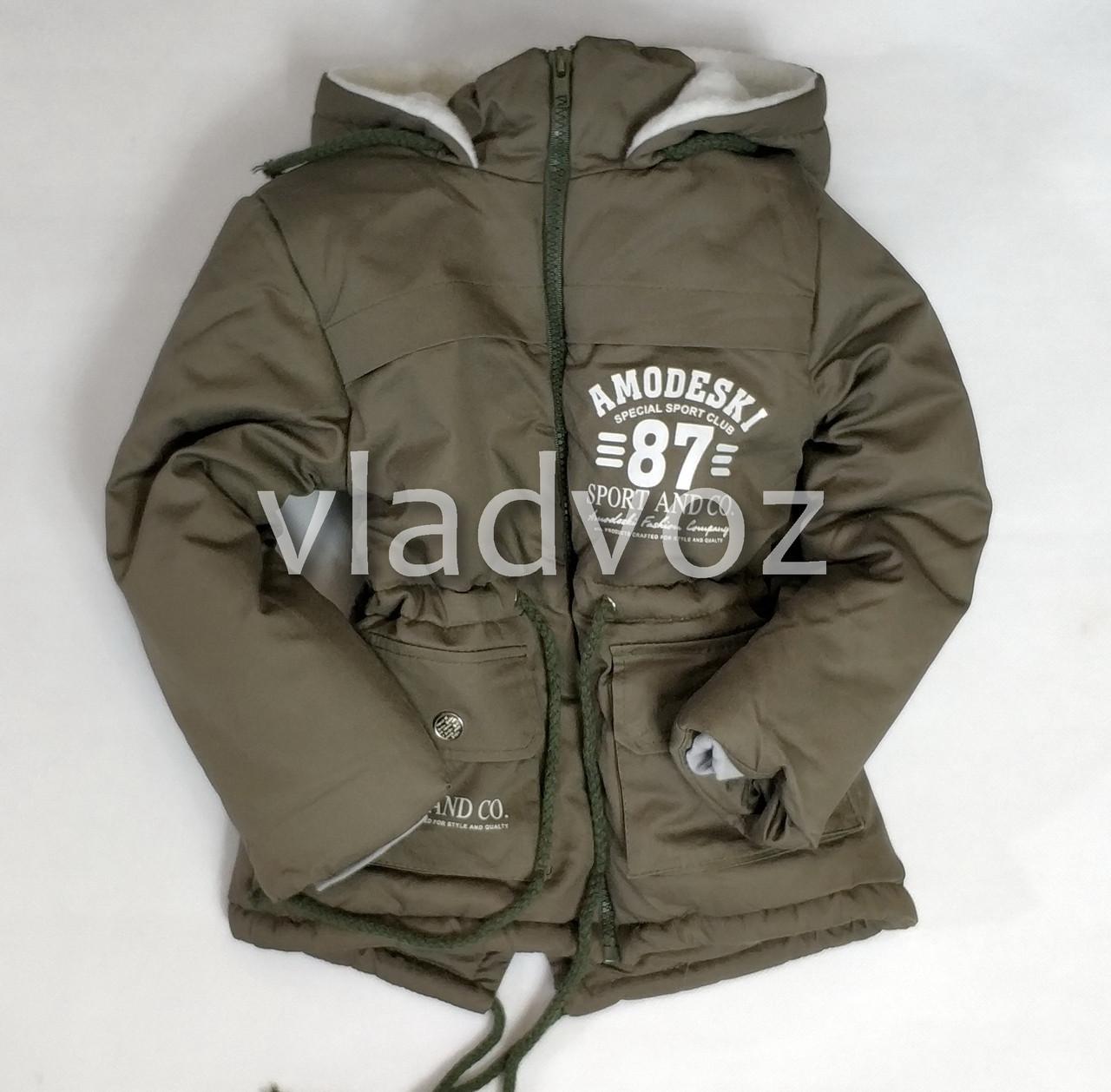 Детская зимняя куртка парка для мальчика хаки 2-6 лет 4029