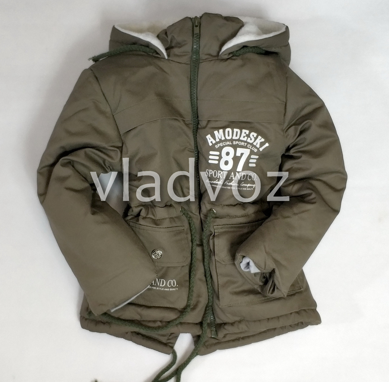 Детская зимняя куртка парка для мальчика хаки 5-6 лет