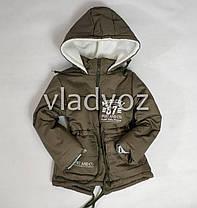 Детская зимняя куртка парка для мальчика хаки 5-6 лет, фото 3