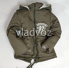 Детская зимняя куртка парка для мальчика хаки 6-7 лет