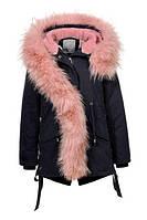 Парка пальто на меховой подкладке  на девочек  110/ 160 см