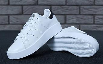 "Женские кроссовки Adidas Stan Smith Bold ""White/Black"" (люкс копия)"