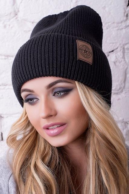 Модная женская шапка Челси черная