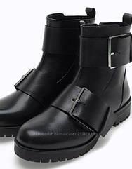 Брендовые стильные кожаные ботинки ботильоны Stradivarius (Размер 37- 24 см)