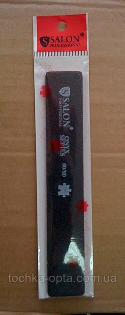 Пилка для ногтей Salon Professional 80/80, прямая широкая, черная