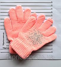 Детские шерстяные перчатки для девочки - длина 14 см, фото 3