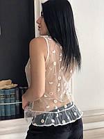 Белая прозрачная майка с вышивкой
