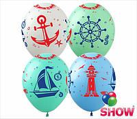 """Латексные воздушные шары с рисунком """"Морская тематика"""", диаметр 12 дюймов (30 см), шелкография 5 сторон, 100шт"""