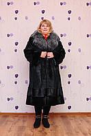 Шуба большого размера с воротником из чернобурки