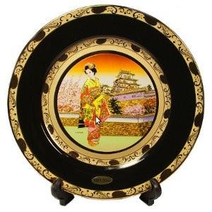 Японская сувенирная тарелка «Дворец и майко»