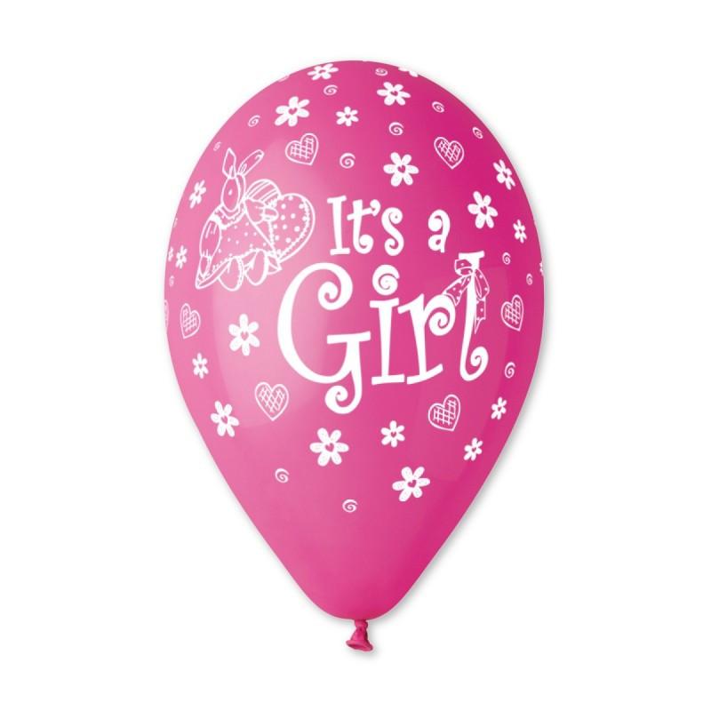 """Латексные воздушные шары Gemar пастель розовые с рисунком 12 дюймов/30 см,""""К рождению девочки It's a girl"""""""