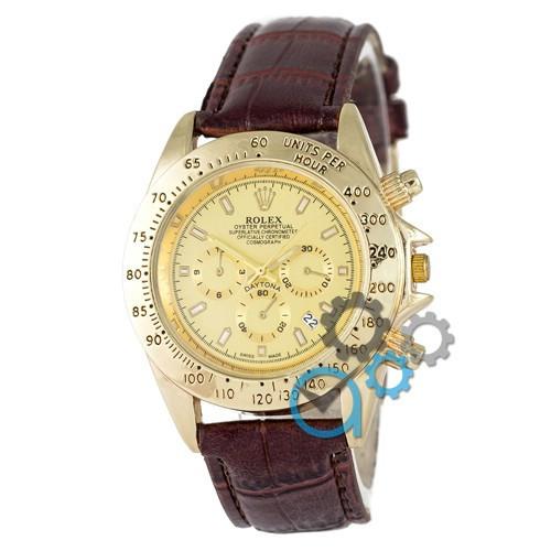МУЖСКИЕ часы ROLEX Daytona Brown-Gold (Ролекс Дайтона) КОРИЧНЕВЫЙ ремешок Чоловічий годинник