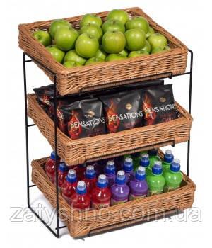 Плетеные лотки из лозы для фруктов и овощей