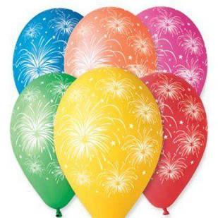 """Латексные воздушные шары Gemar Италия, расцветка: пастель ассорти, """"Салют"""", круговая печать шелкография"""