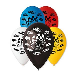"""Латексные воздушные шары Gemar Италия пастель ассорти с рисунком 12 дюймов/30 см, """"Гоночные машины"""""""