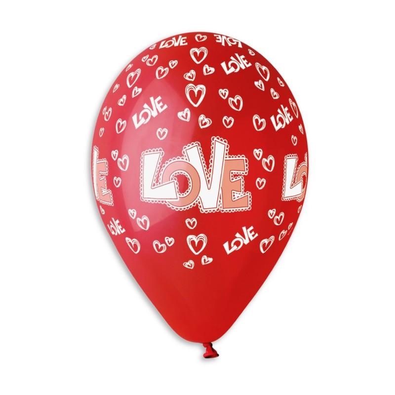"""Латексные воздушные шары Gemar Италия пастель красные с рисунком 12 дюймов/30 см, """"LOVE сердечки"""""""