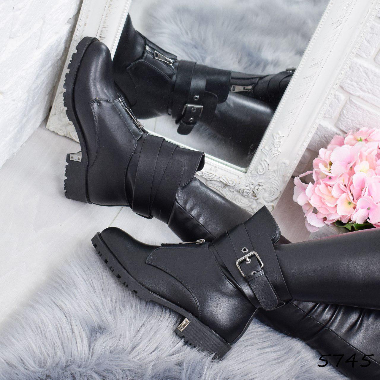 """Ботинки, ботильоны черные ЗИМА """"Rima"""" эко кожа, повседневная, зимняя, теплая, женская обувь"""