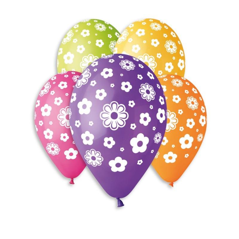 Латексные воздушные шары Gemar Италия, расцветка: Пастель ассорти, Цветочки