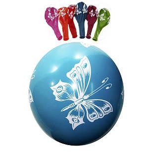 Латексные воздушные шары Gemar Италия, расцветка: Пастель ассорти, Цветочки бабочки