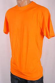 Футболка мужская  однотонная 100%Cotton Индия M-L-XL-XXL 26992 оранжевая