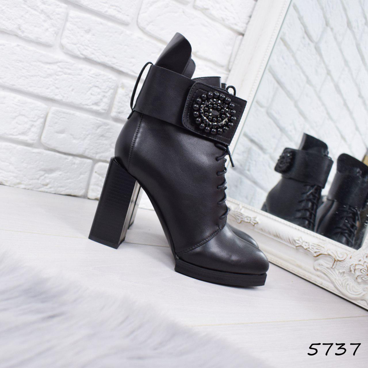 """Ботильоны женские на каблуке, черные """"Styope"""" эко кожа, повседневная обувь, ботинки женские"""