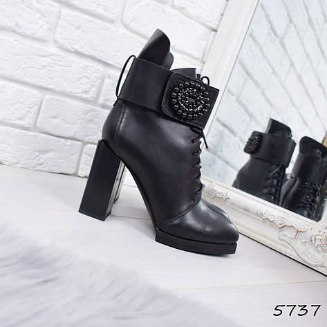 """Ботильоны женские на каблуке, черные """"Styope"""" эко кожа, повседневная обувь, ботинки женские, фото 2"""