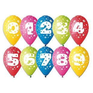 """Воздушные шары Gemar Италия, расцветка: Пастель ассорти, Шелкография круговая печть Цифры """"от 0 до 9"""""""