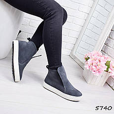 """Ботинки, ботильоны серые """"Jill"""" НАТУРАЛЬНАЯ ЗАМША, повседневная, демисезонная, осенняя, женская обувь, фото 3"""